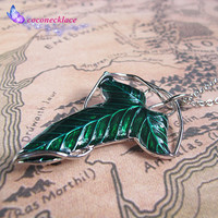 The Lord of the Rings Demon Legolas Green Leaf brooch necklace