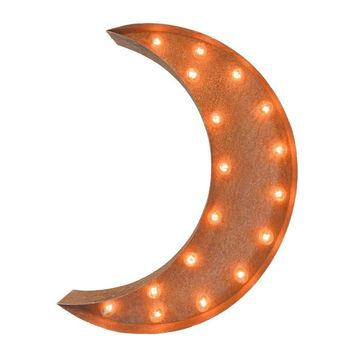 "24"" Crescent Moon Vintage Marquee Lights Sign (Rustic)"