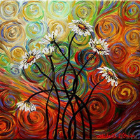 Psychedelic Daisies Canvas Wall Art