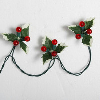 Red Novelty Christmas Lights - Quantity Of 2 - 36 'berry' Bulbs On Green Wire