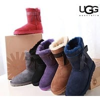 Bunchsun UGG stylish casual lady's wool boots are hot sellers with side bow UGG boots