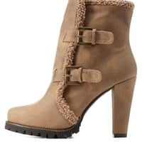 Taupe Buckled Shearling-Trim Chunky Heel Booties by Charlotte Russe