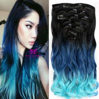 "Light Blue Clip In Synthetic Hair 7pcs Set 20"" Wavy Extension 3Colors Ombre Curly Dip Dye Hair Extensions Hair Piece Style A10"