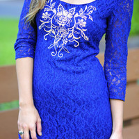 Embroider Me In Lace Dress: Royal Blue | Hope's