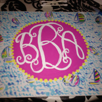 Lilly Pulitzer Monogram Canvases by SaraLaddART on Etsy