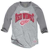 Mitchell & Ness Detroit Red Wings Media Guide Raglan T-Shirt - Ash