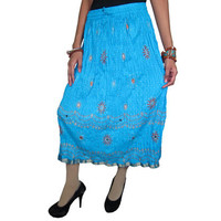 Mogulinterior Gypsy Hippie Skirt Blue Floral Printed Bohemian Lace Work Mid Length Skirts
