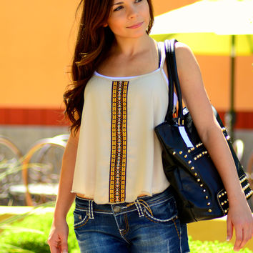 AZTEC STRIPE TANK IN TAN