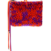 Roksanda Ilincic Purple And Orange Knit Wool Clutch