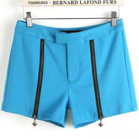 Blue Zipper Straight Shorts