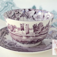 Purple Aubergine Transferware Tea Cup & Saucer Dripping Roses Hills Ross & Harlech Castle Wood and Sons