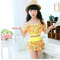 1 Pcs Kids Summer Cute Bathing Suits Two-Piece Suits for Girl Swimsuit Swimwear Bikini Tops Children Swim Floral Dress for Girls