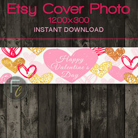 INSTANT DOWNLOAD, Etsy Shop Cover Photo 1200x300, Premade Handrawn Valentine's Hearts Design, Digital File, Valentine's Day Website Header