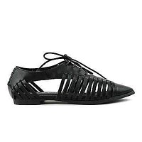 Kingston03 Strappy Lace Up Cut Out Pointy Oxford Flat Women Shoes