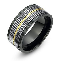 Stainless Steel Spinner Greek Key Pattern Ring