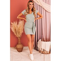 Good Changes Ahead Tie Front T-Shirt Dress (Two Tone Sage)