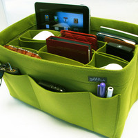 W2. Yellow-green felt bag organizer  - X X large size for travel ((W 14in H 8in D 7.5in ), also for a school / baby bag, desk, car & etc.