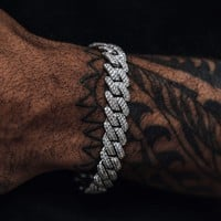 Diamond Prong Cuban Link Bracelet (12mm)