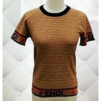 FENDI Popular Women Casual Knit Short Sleeve Round Collar T-Shirt Top Khaki