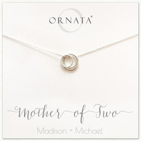 """""""Mother of Two"""" Sterling Silver Necklace   One Adult & Two Children"""