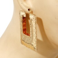 """2"""" gold hoop square bamboo earrings basketball wives"""