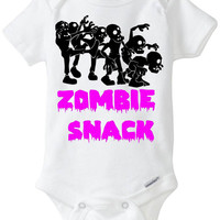 """Zombie Snack Baby Girl Gift: Embellished Gerber Onesuit Brand bodysuit - """"Zombie Snack"""" with a group of Zombies - Funny Onesuit Preemie Size!"""