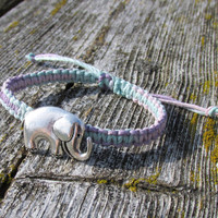 Elephant Bracelet, Adjustable Pastel Macrame Hemp Jewelry for Nature Lovers, Silver Tone Charm