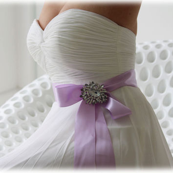 Bridal sash, crystal sash, ribbon sash, rhinestone belt, wedding accessory, lavender bridal sash, bridal belt, bridesmaid belt