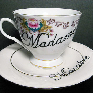 Teacup - Macabre - French - Hand Painted Tea Cup