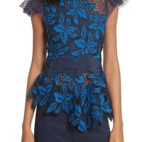 Sea Mosaic Lace Peplum Top | Nordstrom