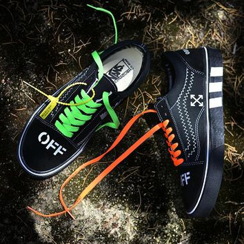 Trendsetter VANS x OFF White Canvas Old Skool Flats Sneakers Sport Shoes