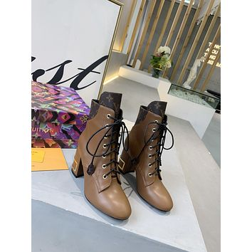 lv louis vuitton trending womens men leather side zip lace up ankle boots shoes high boots 56