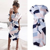 Women Summer Boho Casual Midi Dress Evening Cocktail Party Beach Dresses
