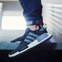 Best Online Sale Adidas NMD R1 Primeknit gre / black BB2884 Boost Sport Running Shoes Classic Casual Shoes Sneakers
