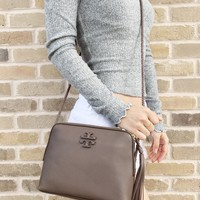 Tory Burch Taylor Camera Bag Crossbody Handba Leather Silver Maple