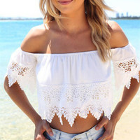 Summer Blouse Sexy Off the Shoulder Boho Lace White Blouse Off Shoulder Crop Tops