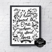 Love Typography Art. Song of Solomon 3:4. Scripture Wall Art. 8.5 x 11""
