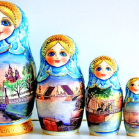 FREE SHIPPING Matryoshka Russian doll Saint-Petersburg blue 5 psc traditional Russian nesting doll hand painted Russian wood toy