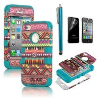 Pandamimi ULAK Hybrid High Impact Case Tribal Pink / Blue Silicone for iPhone 4 4S +Screen Protector +Stylus: Cell Phones & Accessories