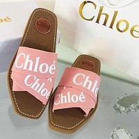 Chloe New cross braided Roman slippers Pink Face With White Letters