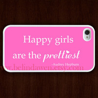 Audrey Hepburn iphone 4 case, iphone 4s case, Happy Girls are the Prettiest Audrey Hepburn case,