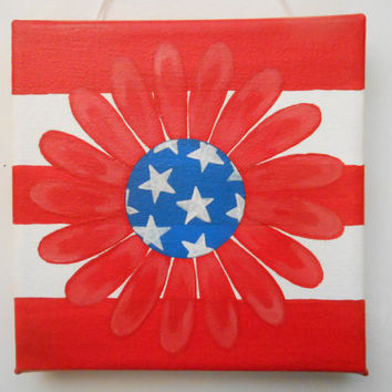 Mix & Match - Flower Wall Art - 6x6 Pure Cotton Canvas Made in USA - Hand Painted - Proud to be an American Wall Art