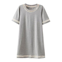 Light Grey Short Sleeve Tee Shirt Dress