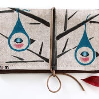 """Tobacco Pouch- Cotton hand painted tobacco pouch with the illustration """"Birdrop"""" by Noe's Mind"""