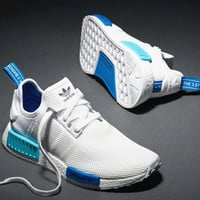 """""""Adidas"""" NMD Trending Fashion Casual Sports Shoes White blue soles"""