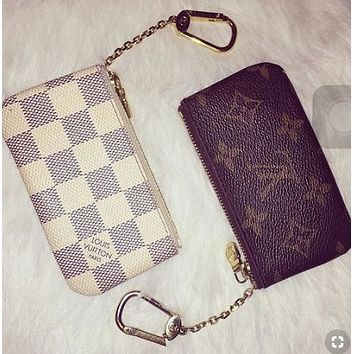 Louis Vuitton LV Trending Women Men Stylish Leather Zipper Key Pouch Clutch Bag Coin Purse Wristlet