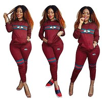 Bee Stripe two piece set tracksuit for women elegant top and pants set Wine red