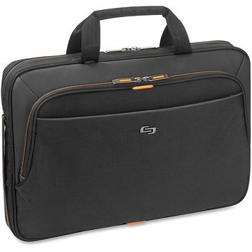 """Solo Carrying Case (Briefcase) for 15.6"""" Notebook - Orange, Black"""