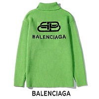 BALENCIAGA Autumn Winter Popular Warm High Collar Knit Sweater Sweatshirt Green