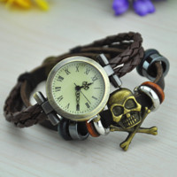 Vintage Style Leather Belt Watch with Skull Head 11
